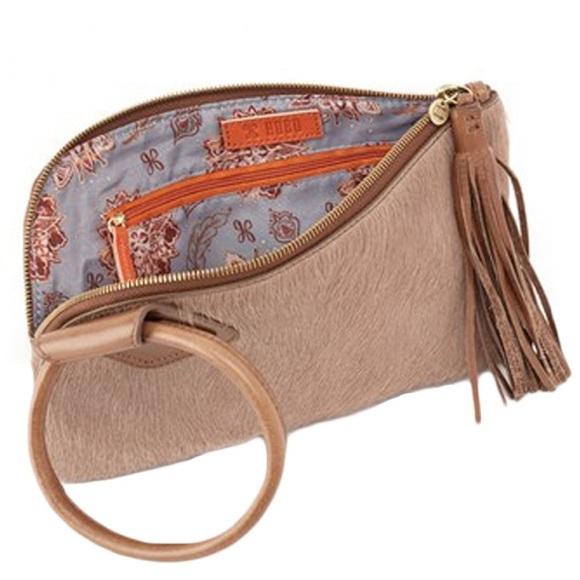 HOBO Handbags - HOBO Sable Hair On Hide Fringe Wristlet - Biscotti